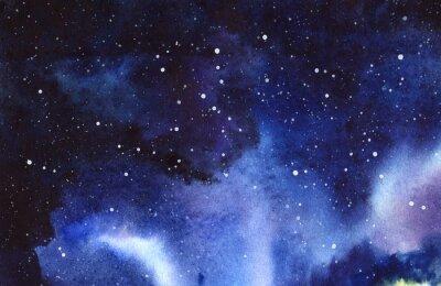 Nálepka Noční hvězdná obloha. Ručně kreslený na mokré papíře skutečné akvarel Ilustrace.