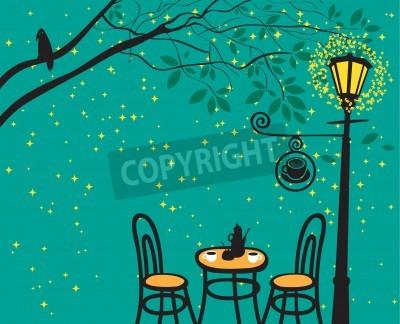 Nálepka Noční krajina s nočním kavárnou v pouliční