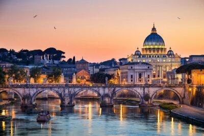Nálepka Noční pohled na baziliku svatého Petra v Římě, Itálie