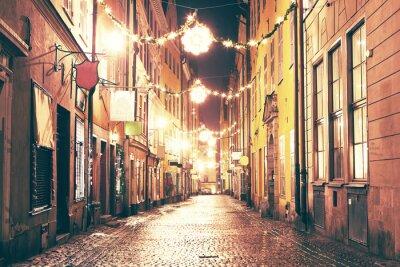 Nálepka Noční ulice v Gamla Stan, Stockholm.