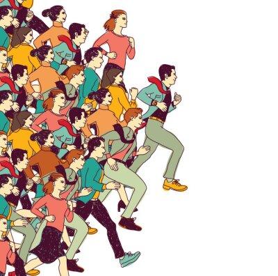 Nálepka Obchodní lidé velká skupina barva soutěž