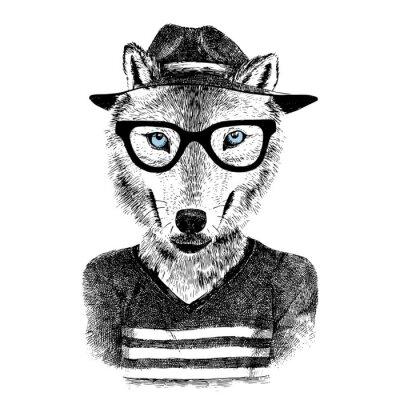 Nálepka Oblečený vlk