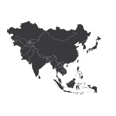 Nálepka Obrys na čisté pozadí kontinentu Asie