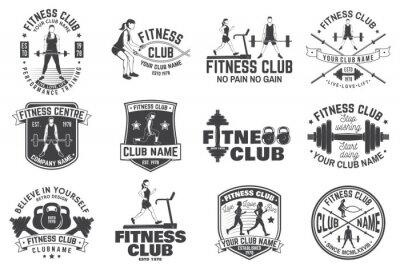 Nálepka Odznaky fitness klubu. Vektor. Pro znaky fitness center, tělocvičny a další.