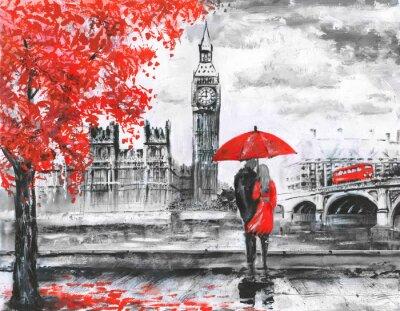 Nálepka .oil na plátně, pohled z ulice Londýna, řeky a autobusy na mostě. Umělecká díla. Big Ben. Muž a žena pod červeným deštníkem