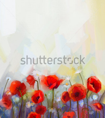 Nálepka Oil  painting red poppy  flowers.  Spring  floral nature background