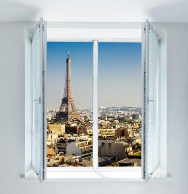 Nálepka Okno s Eiffelovou věží a střech pohledu