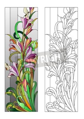 Nálepka Okno z barevného skla s fialovým květinovým vzorem
