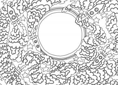 Nálepka Okolo Měsíce (vektorové ilustrace)