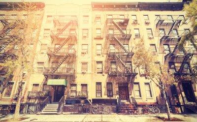 Nálepka Old film retro style photo of New York street, USA.
