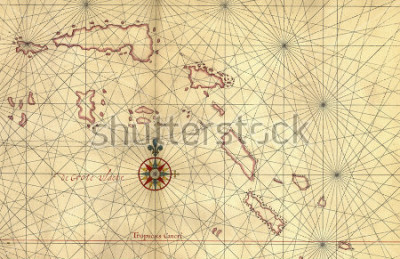 Nálepka Old map and Compass Rose