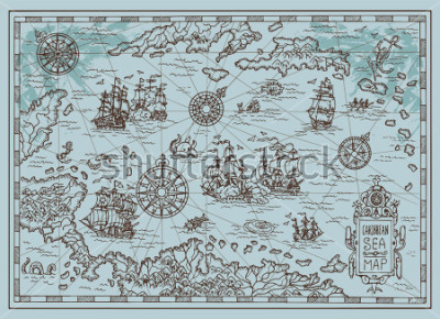 Nálepka Old map of the Caribbean Sea with pirate ships, treasure islands, fantasy creatures. Pirate adventures, treasure hunt and old transportation concept. Hand drawn vector illustration, vintage background