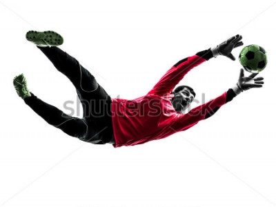Nálepka one caucasian soccer player goalkeeper man catching ball in silhouette isolated white background