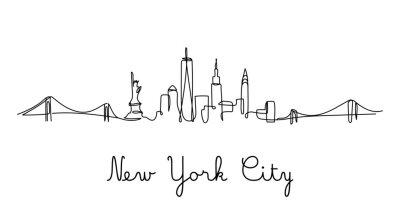 Nálepka One line style New York City skyline. Simple modern minimaistic style vector.