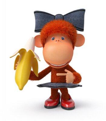 Nálepka opička s banánem