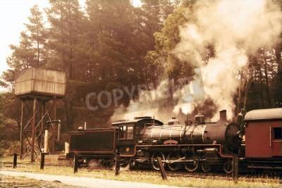 Nálepka Opouštět parní vlak v sépie barvách