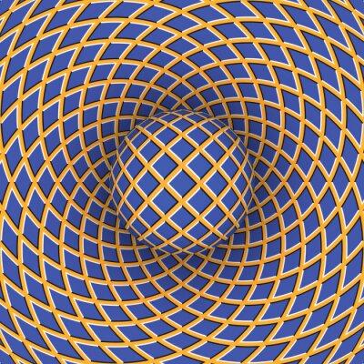 Nálepka Optická iluze otáčení míče na pozadí pohybujícího prostoru.