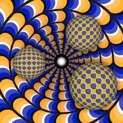 Nálepka Optická iluze otáčení tří míč kolem pohybujícího se díry. Abstraktní pozadí.