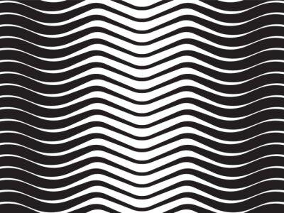 Nálepka optická vlna abstraktní pruhované pozadí černé a bílé