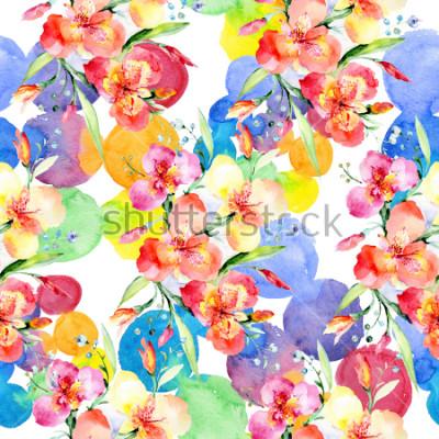 Nálepka Orange violas bouquet botanical flowers. Wild spring leaf wildflower. Watercolor illustration set. Watercolour drawing fashion aquarelle. Seamless background pattern. Fabric wallpaper print texture.