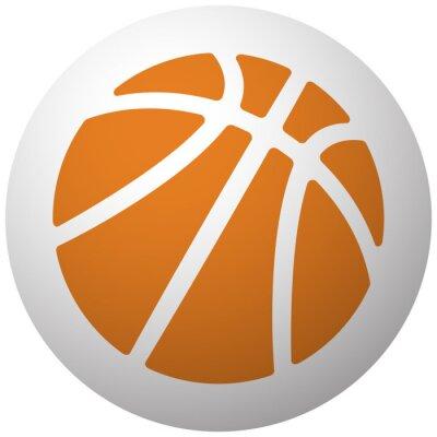 Nálepka Oranžová ikona Basketbal na kouli na bílém pozadí