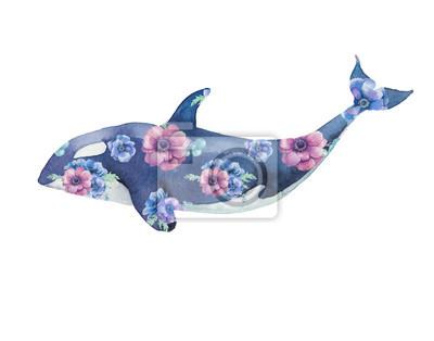 Orca s květinami umělecká díla. Akvarel tisk s kosatky a sasanky kytice vzor. Ručně malované zvířat silueta na bílém pozadí. Creative přírodní ilustrační