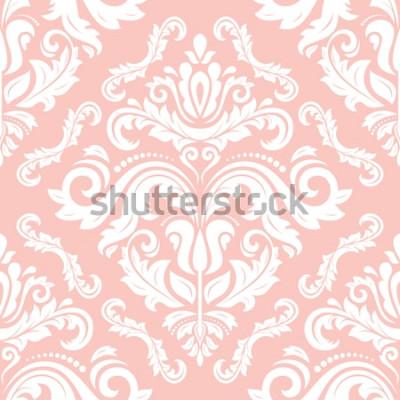 Nálepka Orientální vektor klasický vzor. Bezešvé pozadí abstraktní s opakující se prvky. Růžový a bílý vzor