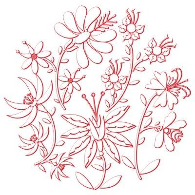Nálepka Oslavu den folk a vyšívání výřez inspirovaný východní evropské kultury kruhového tvaru v bílé barvě s květinovými prvky s červenou zdvih s 3D efektem