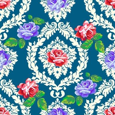 Nálepka Ošumělý chic růže damašek vzor. Vektorové bezešvé vintage květinové pozadí