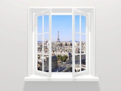 Nálepka Otevřel okno a pohled na Eiffelovu věž, Paříž