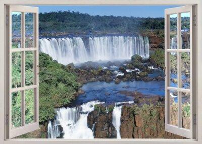 Nálepka Otevřená windoq panoramatický vuew do Iguacu padá, Brazílie