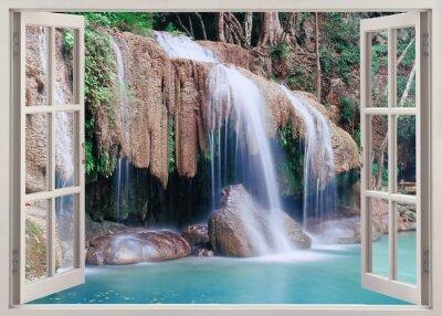 Nálepka Otevřené okno pohled Erawan Falls, Thajsko