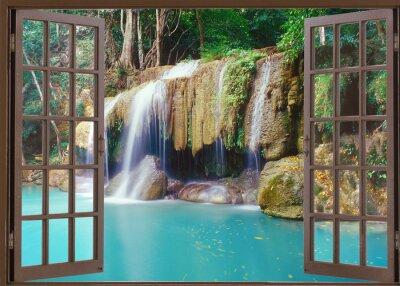 Nálepka Otevřené okno pohled na hluboké džungli vodopádu