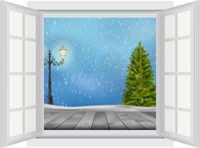 Nálepka Otevřené okno vánoční strom a sloup veřejného osvětlení na pozadí v zimě