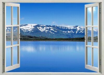 Nálepka Otevřete okno panoramatický výhled na hory a jezero sníh