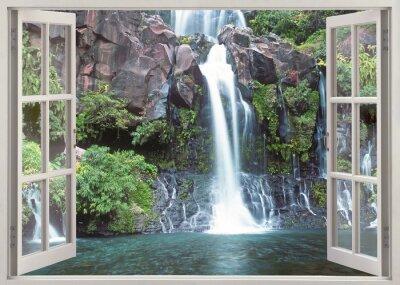 Nálepka Otevřete okno pohled na Cormoran vodopádu, Réunion ostrov