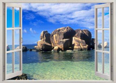Nálepka Otevřete okno pohled na pobřeží Seychel