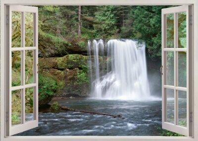Nálepka Otevřete okno pohled na Upper Notrh Falls a řeka