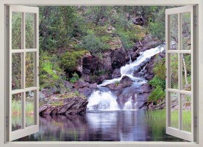 Nálepka Otevřete okno výhled na horské vodopád a rybník