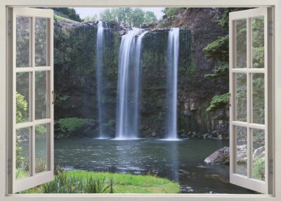 Nálepka Otevřete okno výhled na Whangarei Falls, Northland (North Island), Nový Zéland