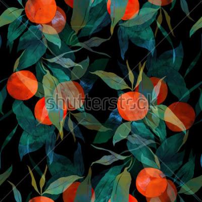 Nálepka otiskuje subtropický mandarínkový strom s ovocem a listy. drahé malované bezešvé vzor. digitální a akvarel. pozadí pro textilní výzdobu a design. tapeta na zeď. smíšený rámeček médií