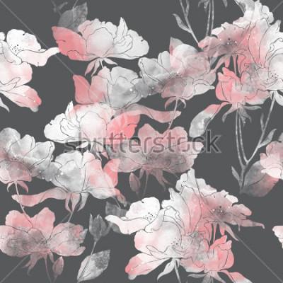 Nálepka otisky květin a listů divoké růže. ručně malované bezešvé vzor. digitální kresba a textura akvarelu. pozadí pro textilní výzdobu a design. botanické tapety. smíšená média. květinový rám
