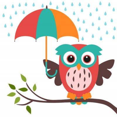 Nálepka owl and umbrella rain