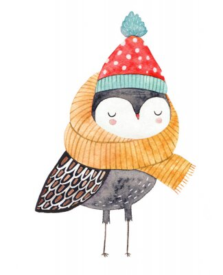 Nálepka owl in a scarf and hat - watercolor drawing