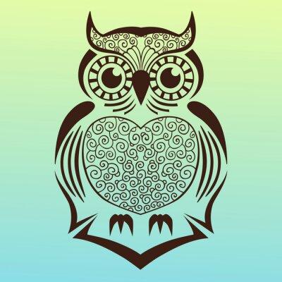 Nálepka owl.vector ilustrace.