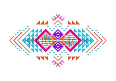 Nálepka Ozdoba v aztéckém stylu. Americký indický ornamentální vzorování. Kmenové dekorativní šablona. Etnické zdobení. Barevné pozadí.