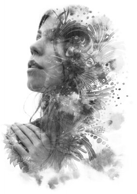 Nálepka Paintography. Double Exposure portrait of a young beautiful woman with hand on chest combined with hand drawn ink and pen drawing
