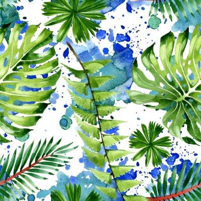 Nálepka Palm beach tree leaves jungle botanical. Watercolor background illustration set. Seamless background pattern.