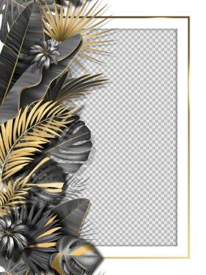 Nálepka Palm leaves and luxurious frame in black gold color. Tropical leaf illustration on transparent background. Vector illustration for cover, photo frame, invitation, souvenir design.