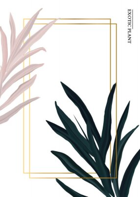 Nálepka Palm pink and green in pastel colors, soft foliage leaves hand drawn doodle graphics background, nature wedding botanical decoration. Tender 3d realistic design with gold luxury elemets